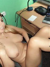 Blonde mature ex girlfriend Sonya takes a break from work and gets naked in this hot solo