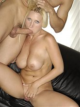 Devon Lee teases her boyfriend with her huge melons and gives him an awesome blowjob