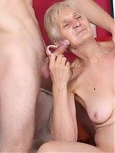 Grey haired grandma Irene lures a younger guy into fucking her during a webcam show